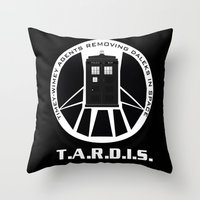 agents of shield Throw Pillows featuring Agents of TARDIS black and white Agents of Shield, Doctor Who mash up by Whimsy and Nonsense