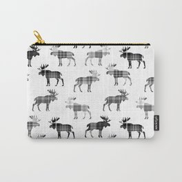Moose Trot // Black & White Plaid Carry-All Pouch