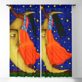 'Girl on the Moon with the Stars in her Hand' in the style of R. Morales (Artist Unknown) Blackout Curtain