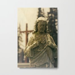 Jesus and Cross Metal Print