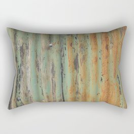 corrugated rusty metal fence paint texture Rectangular Pillow