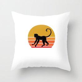 Retro Sun Monkey Primate Gift Idea Throw Pillow