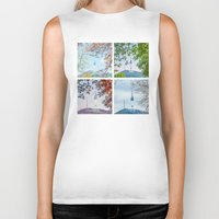 seoul Biker Tanks featuring Seoul Tower Seasons - Square by Zayda Barros