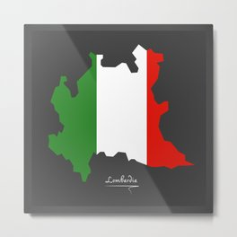 Lombardia map with Italian national flag illustration Metal Print