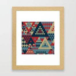triangles-cream-blue-red-KNIT Framed Art Print