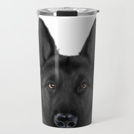 Black German Shepherd, Original painting by miart Travel Mug