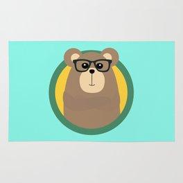 Nerd Brown Bear with cirlce Rug