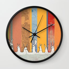 Bunny Mayhem Wall Clock
