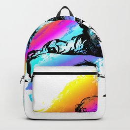 Violin player, violinist musician playing classical music. Music festival concert. Backpack