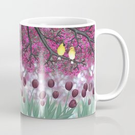goldfinches, tulips, & flowering crabapple Coffee Mug