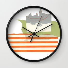 Direct Line I - collage in orange, green and silver Wall Clock