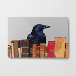 Raven Old antik Books #raven #society6 Metal Print