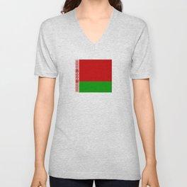 flag of belarus-belarusian,Minsk,Homyel,russia,snow,cold,chess,bear,rus,wheat,europe,easthern europe Unisex V-Neck
