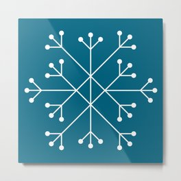 Mod Snowflake Teal Metal Print