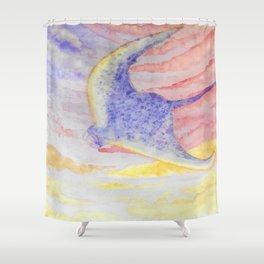Flying manta ray Shower Curtain