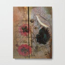 wood grain vintage bird french scripts poppy flower botanical art Metal Print