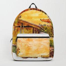 Hokanji Temple Japan Watercolor Backpack