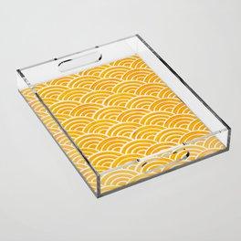 Japanese Seigaiha Wave – Marigold Palette Acrylic Tray