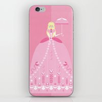 princess peach iPhone & iPod Skins featuring Princess Peach by LittlePaperForest