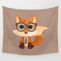 nerd Wall Tapestries featuring Fox Nerd by Adamzworld