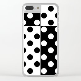 simple , black and white pattern , polka dot Clear iPhone Case
