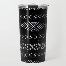 Mudcloth linocut design original black and white minimal inky texture pattern Travel Mug