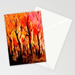 Dark Burning Forest Stationery Cards