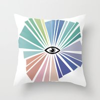 all seeing eye Throw Pillows featuring All seeing eye  by Nobra