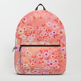 Little flowers on coral, peach and pink Backpack