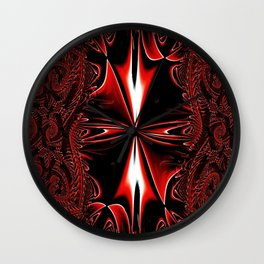 Red FIS Cross Abstract 3 Wall Clock