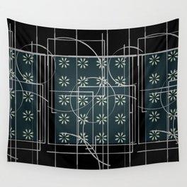 Black Green Grey Digital Daisy Abstract Wall Tapestry
