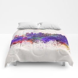 Chengdu skyline in watercolor background Comforters