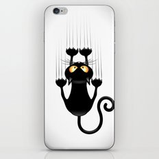 Black Cat Cartoon Scratching Wall iPhone & iPod Skin