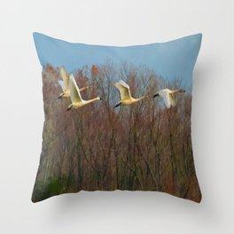 Snow Geese in Flight Throw Pillow