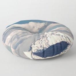 Mount Hood II - Snow Capped Mountain Adventure Nature Photography Floor Pillow