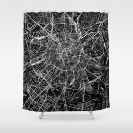 Moscow Black Map Shower Curtain