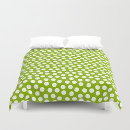 White Polka Dots on Fresh Spring Green- Mix & Match with Simplicty of life Duvet Cover