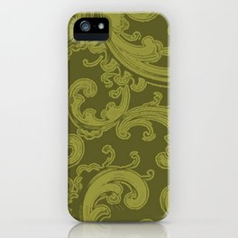 Retro Chic Swirl Golden Lime iPhone Case