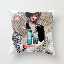 Two Bottles - Magazine Collage Painting Throw Pillow