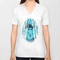 8 bit V-neck T-shirts featuring 8 Bit Invasion by filiskun
