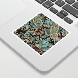 Brown Turquoise Paisley Sticker