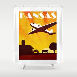Art Deco Travel Poster - Kansas Shower Curtain