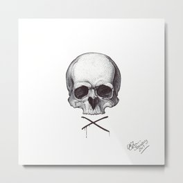 Cross My Heart - Ballpoint Pen Illustration Metal Print