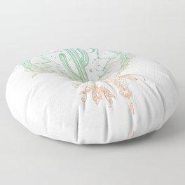 Desert Cactus Dreamcatcher Turquoise Coral Gradient on White Floor Pillow