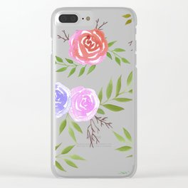 Colorful Spring roses watercolor painting Clear iPhone Case