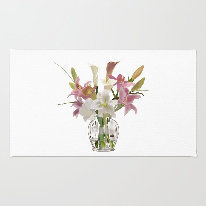 Vase And Flowers On White Background Artwork Rug By Totalflora