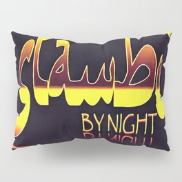 Istanbul By Night Skyline Cityscape Typography Pillow Sham