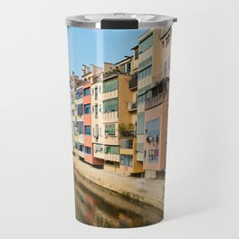 Colorful houses and reflected in water in Girona Travel Mug