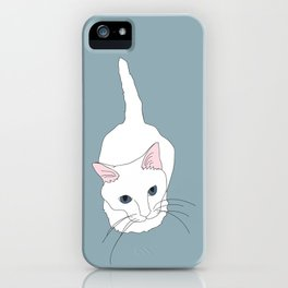 Kitty cat Illustrated Print White Pink Blue iPhone Case
