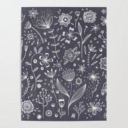 Chalkboard Flowers Poster